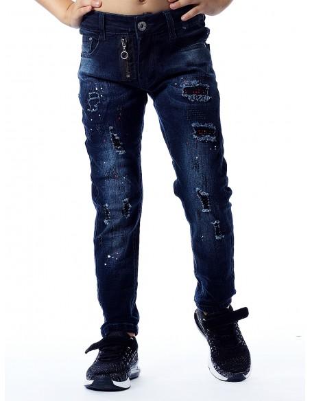 Jeans peinture PT1930 NOIR Garçon 4 à 14ans