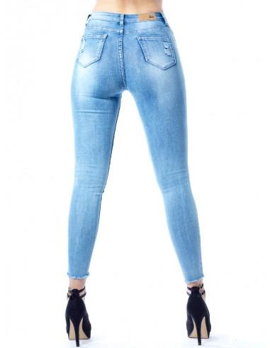 Jeans skinny destroy 30186 BLEU Femme