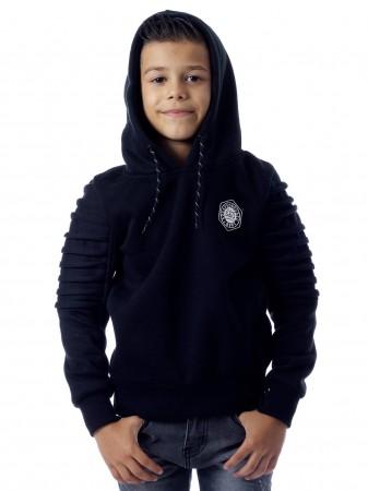 Sweat capuche zip Q023 Noir Garçon 4 à 14 ans