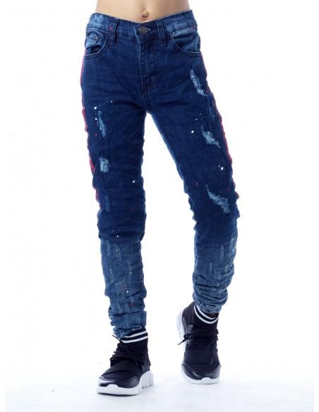 Jeans peinture SN818 BLEU Garçon 4 à 14 ans