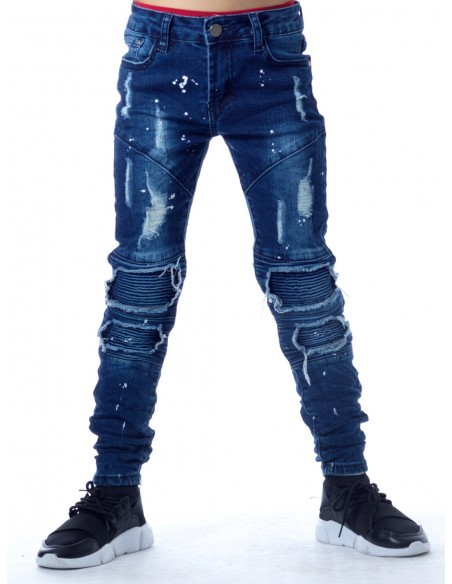 Jeans peinture 3034 BLEU Garçon 4 à 14 ans