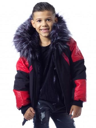 Parka Noir/Rouge Fourrure Noire G003 Enfant de 4 à 14 ans