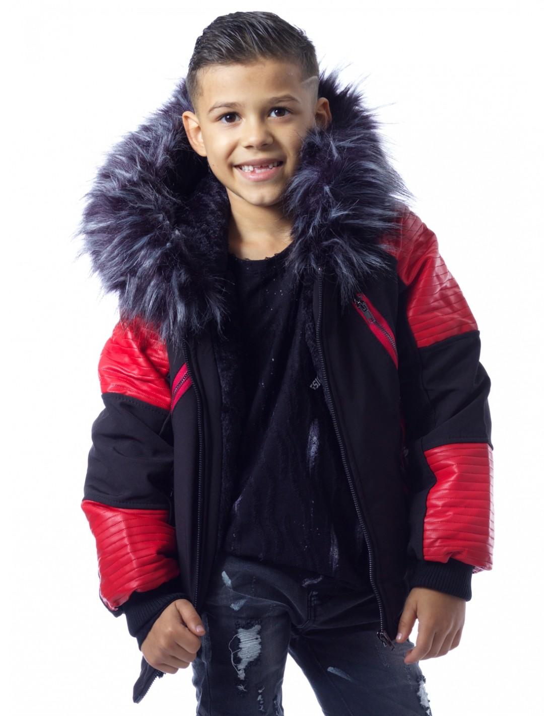 Parka NoirRouge Fourrure Noire G003 Enfant de 1 à 14 ans Garçon du 2 au 14 ans ZERDA BOUTIQUE