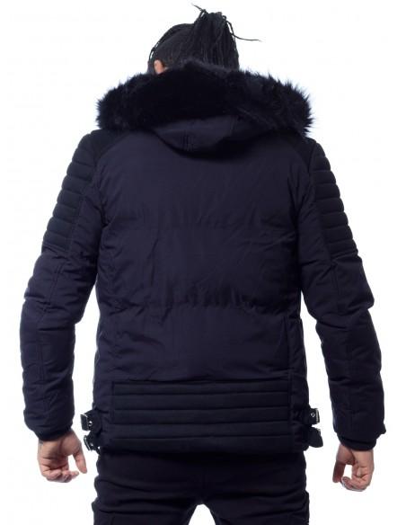 JOHN H - VESTE ZIPPÉE CAPUCHE FOURRURE 6608 NOIR NOIR Vestes-manteaux HAUTS -  ZERDA BOUTIQUE -