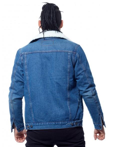 JOHN H - VESTE JEAN COL MOUTON 371 BLEU DENIM Vestes-manteaux HAUTS -  ZERDA BOUTIQUE - Mode pas
