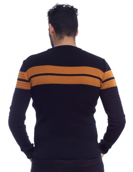 JOHN-H PULL H-018 NOIR CAMEL pulls-sweats HAUTS -  ZERDA BOUTIQUE - Mode pas cher