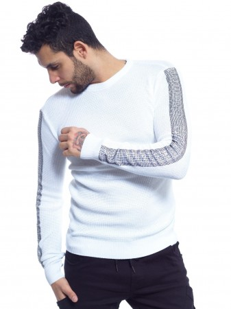JOHN H - PULL AVEC BANDES A STRASS 013 BLANC ARGENT