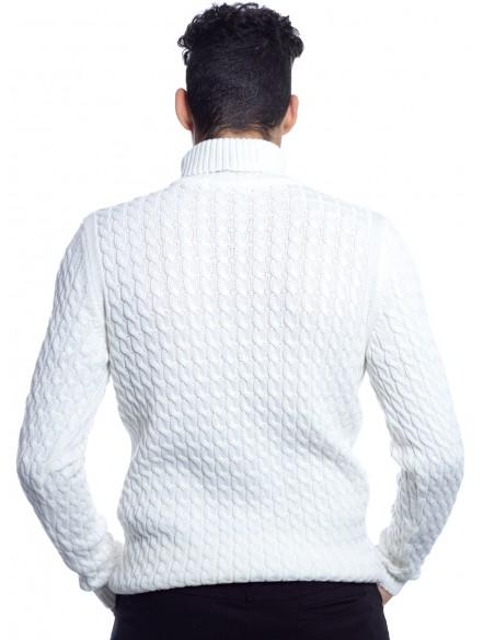 PULL COL ROULÉ ENZO DI CAPRI BLANC pulls-sweats HAUTS -  ZERDA BOUTIQUE - Mode pas cher