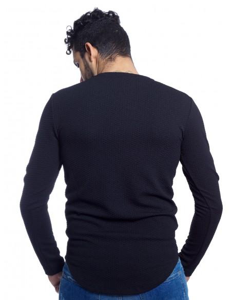 T-SHIRT MAILLE MANCHE LONGUE Y3013 NOIR T-shirts-polos HAUTS -  ZERDA BOUTIQUE - Mode pas cher