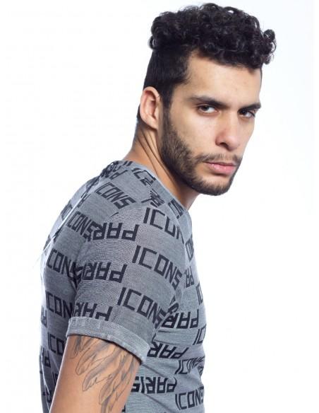 T-SHIRT ICONS PARIS Y1198 GRIS T-shirts-polos HAUTS -  ZERDA BOUTIQUE - Mode pas cher