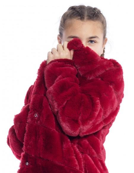 Manteau FOURRURE M017 ROUGE Manteaux & Veste Fille du 2 au 14 ans -  ZERDA BOUTIQUE - Mode pas cher
