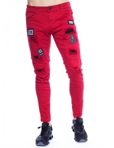 JEANS PATCH 78295 BORDEAU Jeans BAS -  ZERDA BOUTIQUE - Mode pas cher