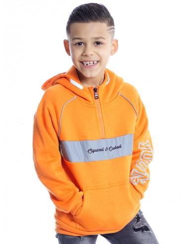 SWEAT RÉFLÉCHISSANT SHY1034 ORANGE Sweats & Pulls Garçon du 2 au 14 ans -  ZERDA BOUTIQUE - Mode