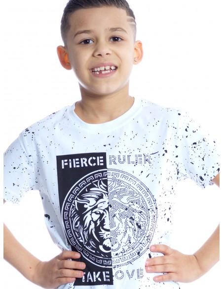 T-SHIRT P103 BLANC T-shirts Garçon du 2 au 14 ans -  ZERDA BOUTIQUE - Mode pas cher