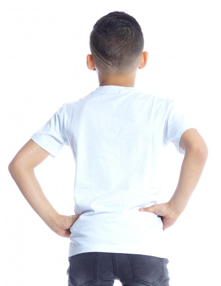 T-SHIRT PANTHERE P102 BLANC T-shirts Garçon du 2 au 14 ans -  ZERDA BOUTIQUE - Mode pas cher