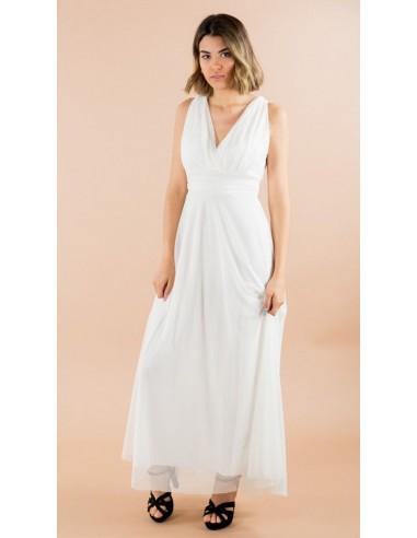 Robe Longue Voile 3584 Blanche Femme Mode Fashion Zerda Boutique Mode Pas Chers Femme Mode