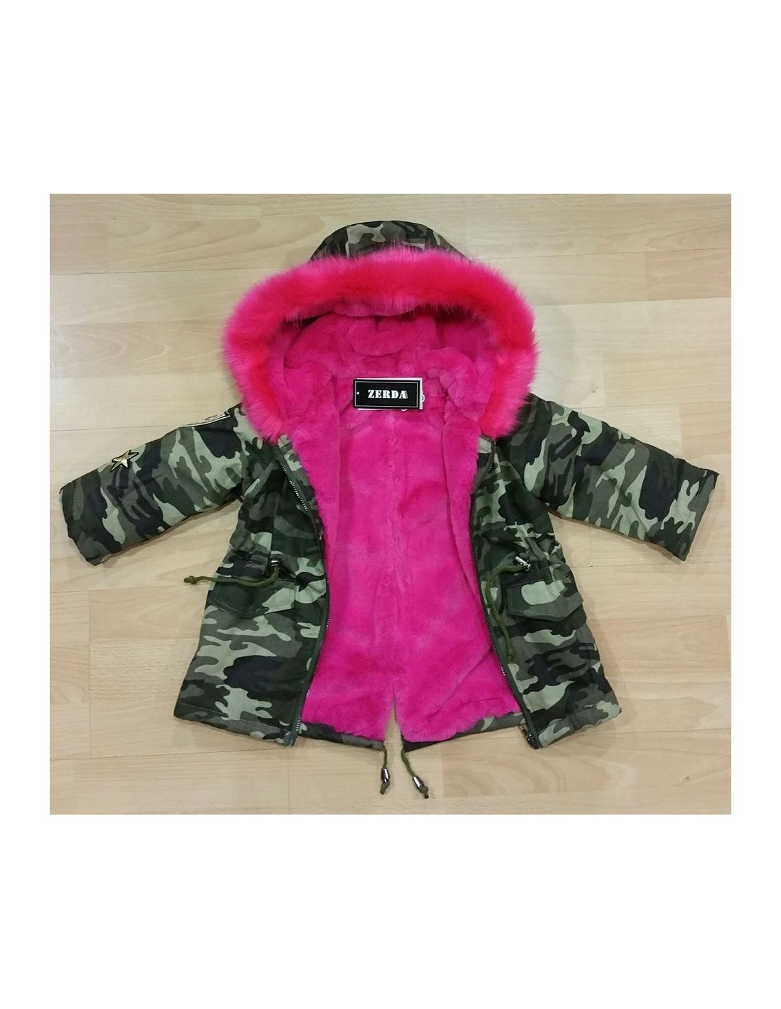 parka militaire fourrure fushia baby. Black Bedroom Furniture Sets. Home Design Ideas