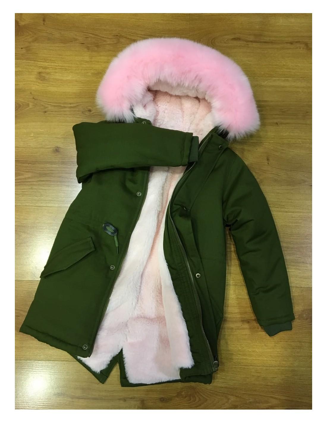 1ca03f292b6 Parka Kaki fourrure Rose 4-14 ANS - Mode Parka fashion tendance...