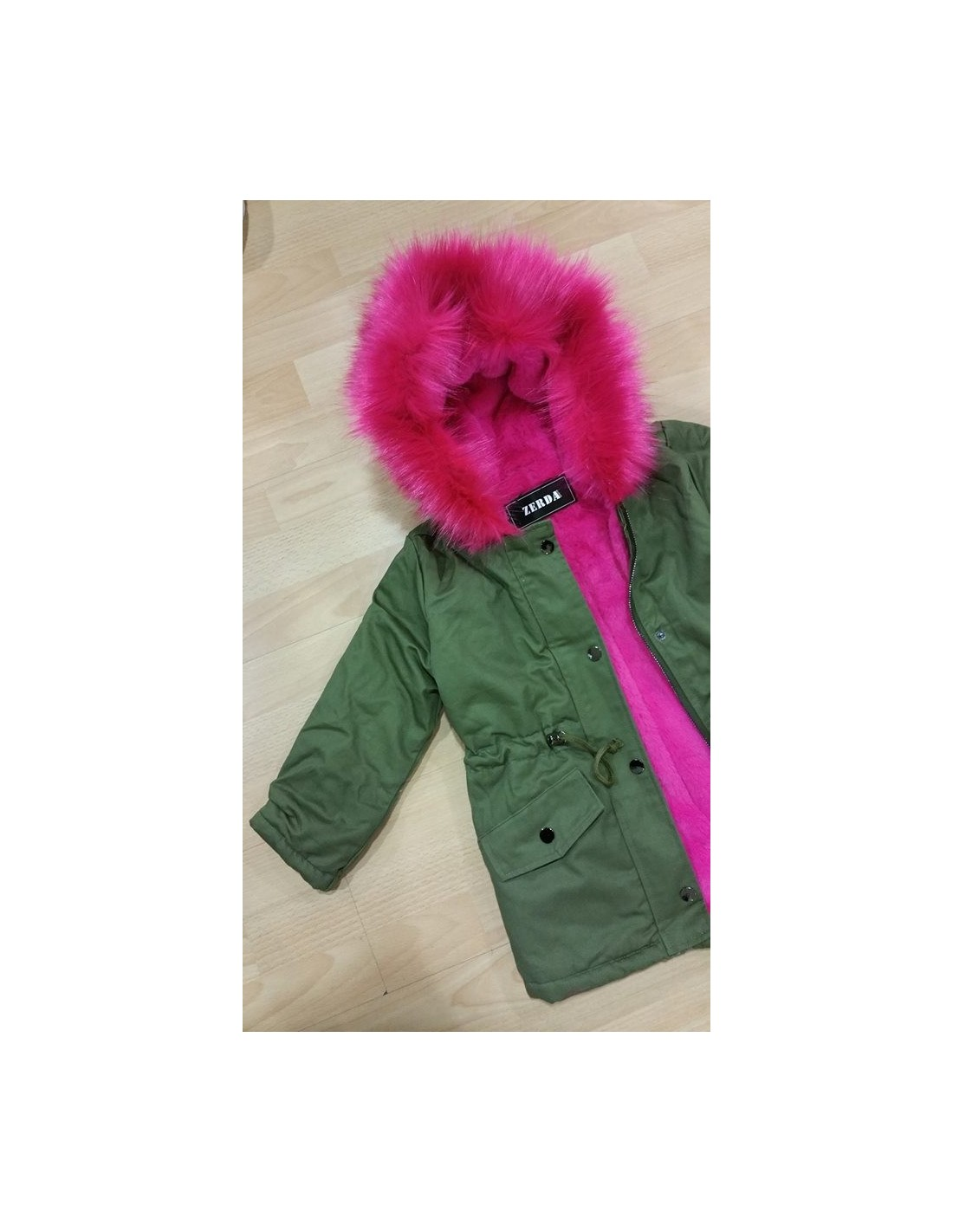 parka kaki fourrure fushia 2 a 14 ans mode parka fashion. Black Bedroom Furniture Sets. Home Design Ideas