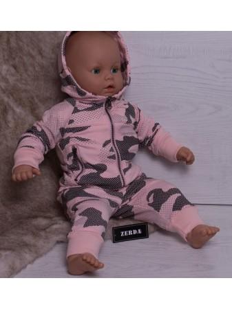 Ensemble Jogging Militaire Rose Baby Fille3 mois au 4 ans