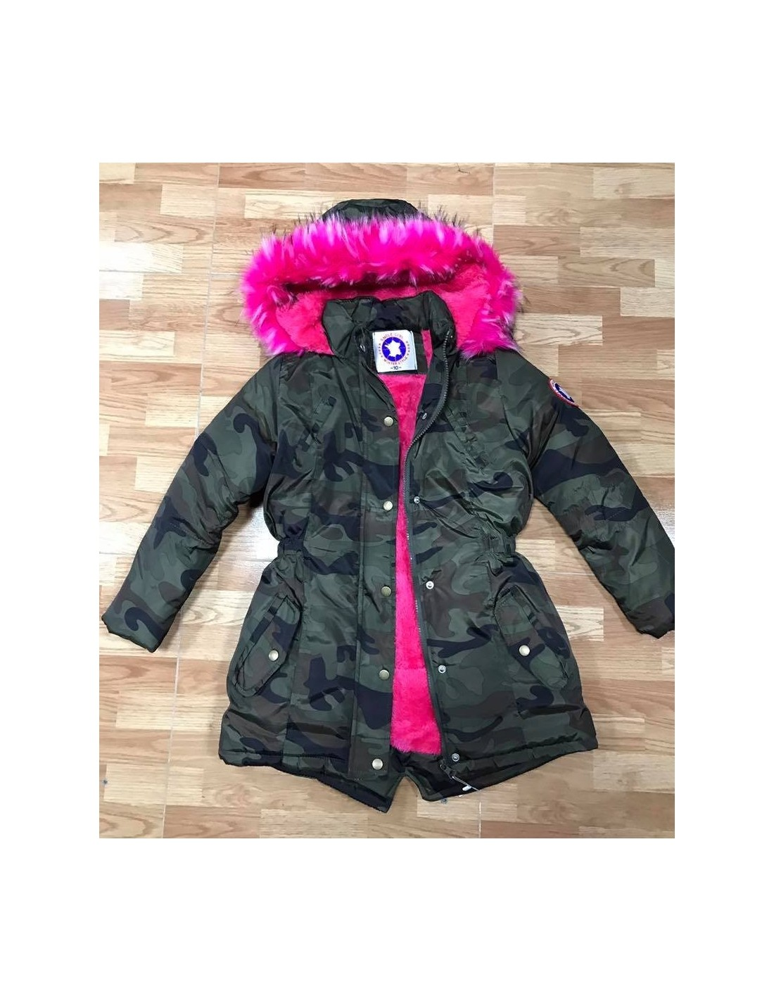 parka militaire fourrure fushia fille 4 a 14 ans mode parka. Black Bedroom Furniture Sets. Home Design Ideas