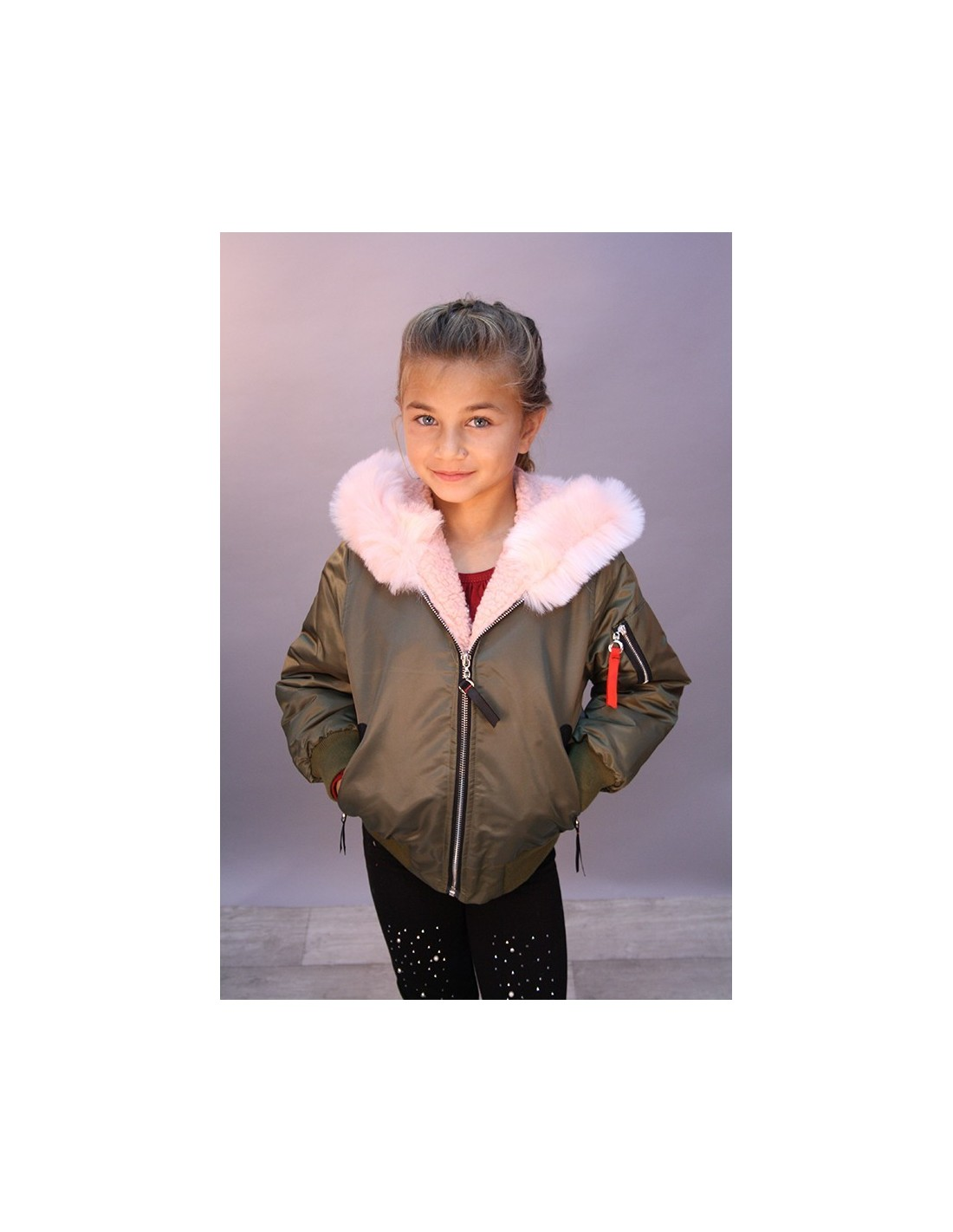 bombers kaki rose fille 4 au 14 ans mode blousons fashion. Black Bedroom Furniture Sets. Home Design Ideas