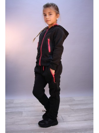 Ensemble Jogging Noir Zip Rose Fille 4 au 14 ans