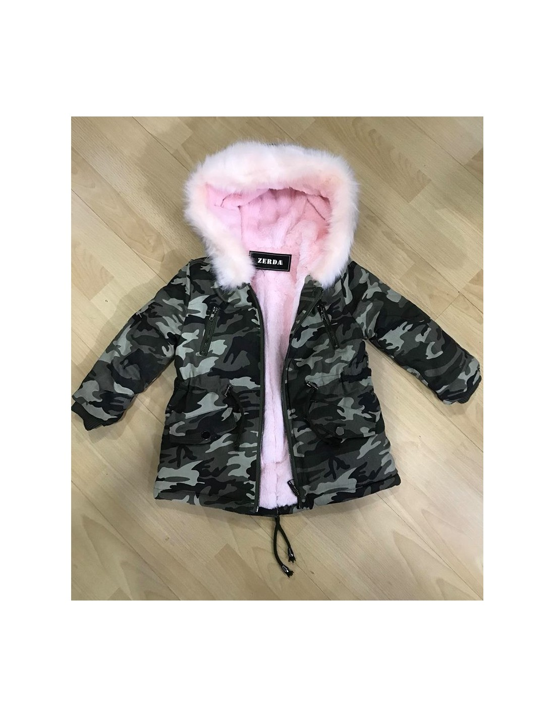 parka militaire fourrure rose 2 a 14 ans mode parka fashion. Black Bedroom Furniture Sets. Home Design Ideas
