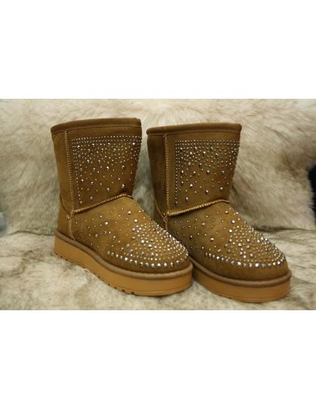 Boots Fourrées Strass Fille Marrons