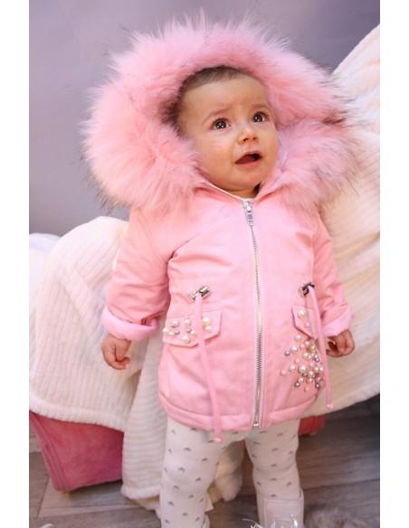 PARKA FOURRURE PERLE ROSE BABY