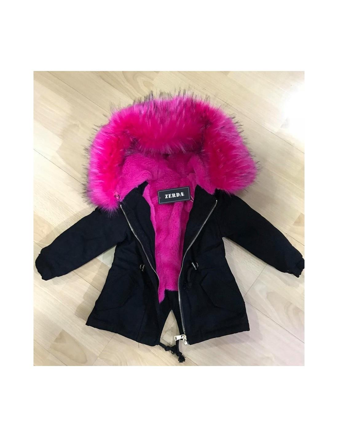 the best attitude sold worldwide new concept Parka Noire Grosse Fourrure Fushia Baby 12 mois au 36 mois ...