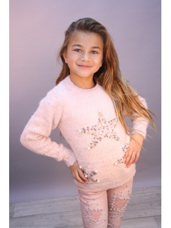 Pull Etoile Perle Rose 713 Fille 4 à 14 ans