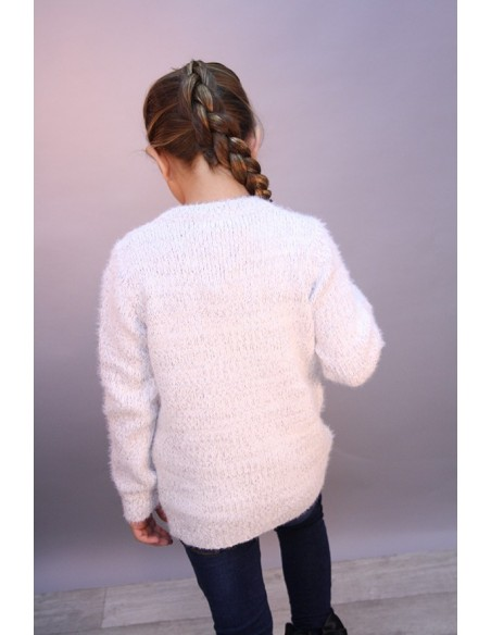 Pull Etoile Perle Blanc 713 Fille 4 à 14 ans