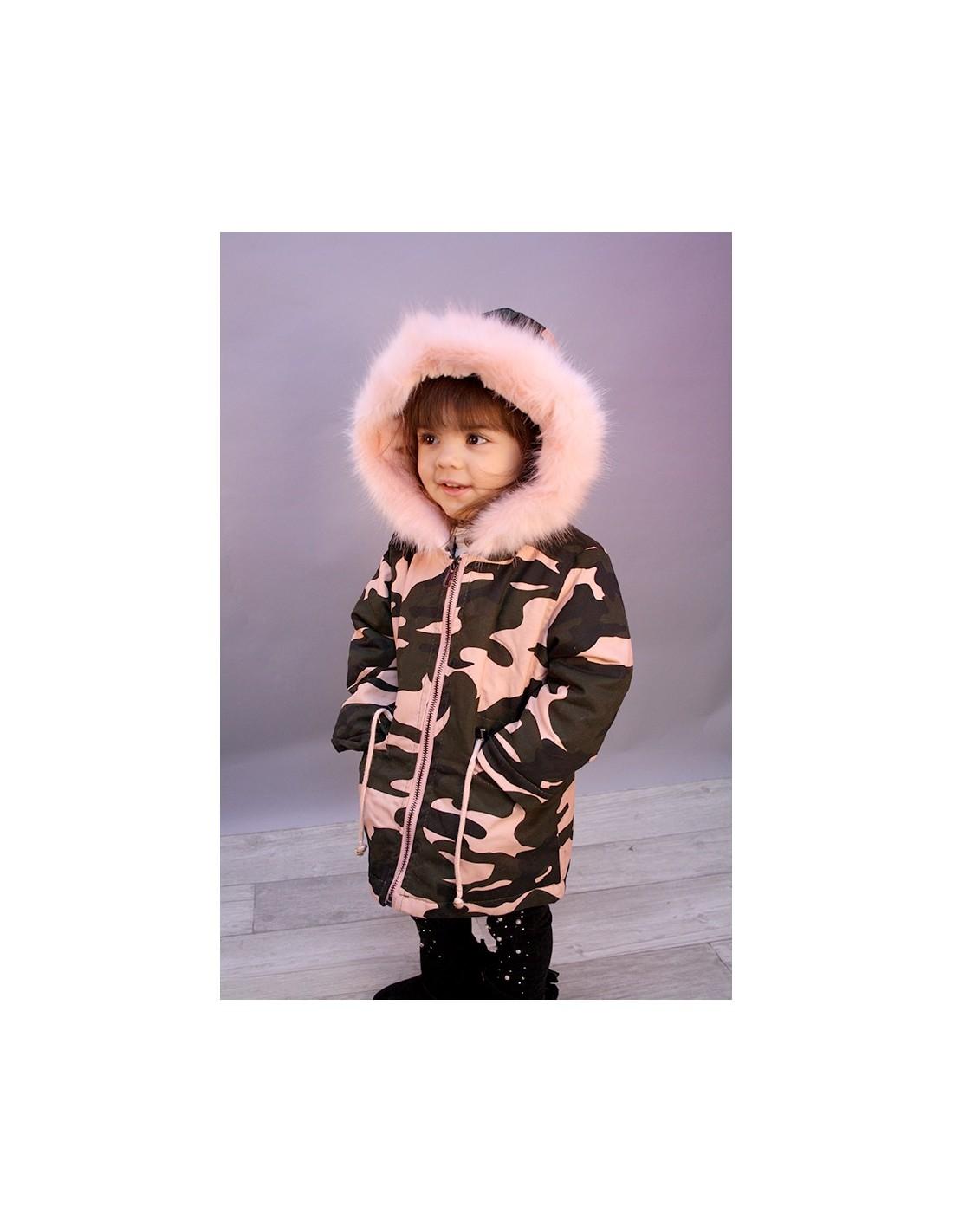 Mode Rose Poudre Parka Fourrure Militaire Baby pRaw1q
